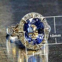 럭셔리 14K 골드 천연 사파이어 링 여성을위한 남성 anillos de bizuteria 보석 탄생석 쥬얼리 바지 Diamant 클러스터 링