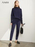 Vestido de dos piezas AMII Minimalista Coreano Moda Traje de punto Caída de las mujeres 2021 Medio Alto Cuello Suéter Pantalones Set Tendencia
