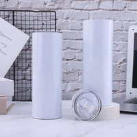 20oz Sublimation Skinny Tumblers Straight Blanks Stainless Steel Coffee Mugs With Lid and Plastic Straw Sippy Cups CYZ3219 300Pcs