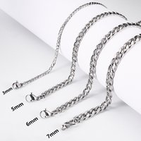 Stainless Steel Cuban Link Chain Necklaces for Women Men Long Hip Hop Cuba Necklace Neck Collar Fashion Jewelry Gift Accessories