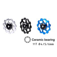 Bike Derailleurs Road Bicycle Rear Transmission Pulley Ceramic Bearing Supports 7   8 9 10 Speed 4 5 6mm Spindle Roller