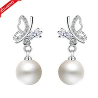 Korean version new Butterfly Pearl Earrings temperament sweet female Fashion jed289