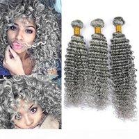 회색 인간의 머리카락 딥 웨이브 3 번들 원시 인도 버진 헤어 그레이 곱슬 인간의 머리카락 확장 순수 회색 이중 위사 100g 번들