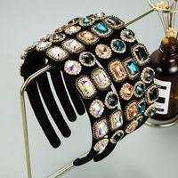 Корейский красочный кристалл оголовье для женщины элегантный геометрический драгоценный камень алмазная черная бархатная девушка для волос вечеринка Tiara Bezel
