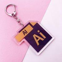 لطيف مكتب البرمجيات أيقونة سلسلة المفاتيح على الوجهين مفتاح سلسلة PS AI Excel أكريليك حقيبة سحر قلادة اكسسوارات مفتاح الدائري K0152