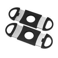 포켓 플라스틱 스테인레스 스틸 시가 커터 나이프 더블 블레이드 가위 담배 시가 도구 ABS 블랙 시가 액세서리 424 V2
