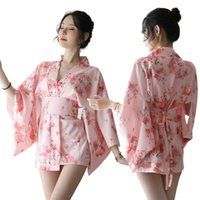 Kimono Mujeres Sakura Estilo Impreso Lencería Sexy Japonés Señoras Vestido Erótico Smooth Bathing Robe 49 Sujetadores