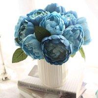 Teste peonies bouquet rotondo imitazione fiori rosa artificiale forniture di nozze rifornimenti boquet decorazioni decorative decorative ghirlande