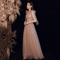 Ethnic Clothing Pink Strapless Mesh Bowknot Cheongsam Fairy Bling Sequins Maxi Qipao Pleated Floor Length Hostess Evening Party Dress Gown