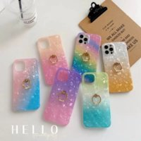 Luxury 360 Metal Finger Ring Holder Soft IMD TPU Cases For Iphone 12 Mini 13 Pro Max 11 XS XR X 8 6 Touch 7 5 Bling Sequin Rainbow Gradient Shell Gel Mobile Phone Back Cover