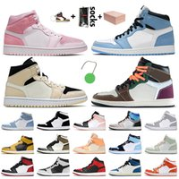nike air jordan 1 jordan retro 1 off white travis scott 1 1s Jumpman Basketball Shoes Mid Banned Barely Orange Digital Pink Мужские женские кроссовки FEARLESS кроссовки