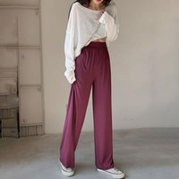Women's Pants & Capris Loose Summer Ankle-Length Soft Black Wide Leg Grey Pink Trendy Casual Women High Waisted Trousers Y