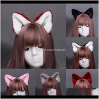 Hair Accessories Party Cos Simulation 8 Color Hand Made Animal Ear Clip Cute Plush Cosplay Cat Long Fur Ears Neko Lovely Costume 4A1Ck Zpny2