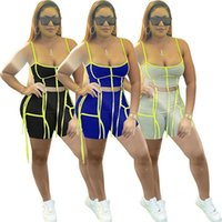 Women Tracksuits 2piece set summer clothes sexy&club striped sleeveless running vest shorts sweatsuit tee&top capris sports suits pullover leggings outfits 01418