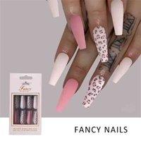 30pcs box Laer Shiny Ballet Fake Nails Long Coffin False Fingernails Acrylic Adhesive Gel Full Cover Tips for Women Girls DIY Manicure Nail