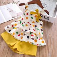 Mizah Bear Bebek Kız Giyim Takım Elbise Marka Yeni Yaz Toddler Kız Giysileri Nokta Yay Yelek T-Shirt Tops + Şort Pantolon 2 adet Set Y0918