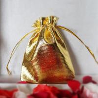 선물 포장 25pcs Drawstring 부직포 원단 Voile 쥬얼리 호의 웨딩 캔디 파우치 가방 (황금)