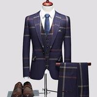 Men's Suits & Blazers 3 Pcs Set Coat Vest Pants   2021 Fashion Casual Boutique Business Plaid Slim Formal Dress Jacket Waistcoat