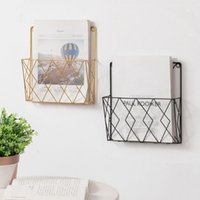 Hooks & Rails 1Pc Modern Wall Hanging Geometric Placement Stand Mobile Phone Book Spaper Collection Storage Rack Magazine Display Holder