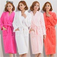 Kadın Erkek Flanel Banyo Robe Pijama 2020 Sonbahar Kış Katı Peluş Çift Bornoz Kalın Sıcak Kadın Robe Dropshipping
