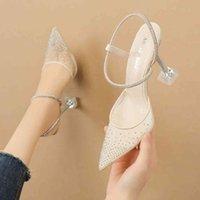 Dress Shoes Sapatos transparentes de salto alto, sandálias femininas alto bico fino, verão, sapatos festa brilhantes, AS3Y