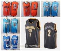 Homens 2 Shai Gilgeous-Alexander Oklahomacity Thunderjersey 0 Russell Westbrook City Paul George 13 Edição Jerseys de basquete