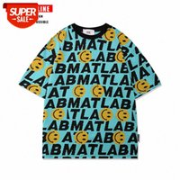 National Tide Smiley Face Full Impresso T-shirt de manga curta personalidade personalidade hiphop marca coreana hip-hop casual top homens # sg1v