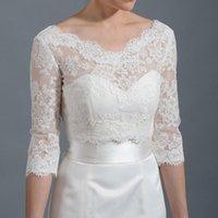 Wraps & Jackets Sexy V Neck Half Sleeve White Lace Women Wedding Bolero Jacket Wrap Marriage Accessories