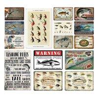 Shabby Chic Vintage Style Fish Metal Signs Retro Plaque Plaque Pittura Della Parete Decor per Pesca Giardino Funny Tin Poster