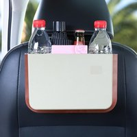 Car Organizer Foldable Hanging Trash Can Storage Bin With Small Table Auto Interior Stowing Tidying