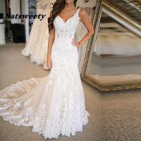 Spaghetti Straps V-Neck Vestido De Noiva Mermaid Wedding Dress 2022 Court Train Charming Appliques White Bridal Gowns Dresses