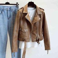 Women's Leather & Faux Ailegogo-jaqueta de couro ecológico feminina, primavera-outono, roupa urbana, cáqui, casaco couro, motociclista, com cinto, J2UK