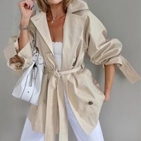 Autumn Turn-down Collar Trench Coat Women Fashion Female Winter Elegant Cardigan Lace Up Overcoat Womens Clothes Streetwear Women's Coats