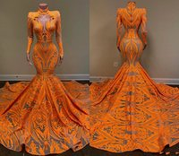 2021 Orange Mermaid Prom Dresses Long Sleeves Deep V Neck Sexy Sequined African Black Girls Fishtail Evening Wear Dress Plus Size