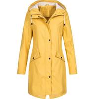 Women's Trench Coats Women Jacket Fashion Winter Autumn Solid Rain Outdoor Plus Waterproof Hooded Raincoat Windproof Jackets Famale