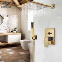Uyhner Altın Yağmur Banyosu Duvara Monte Küvet Mikser Dokunun Banyo Bataryası Duş Seti T200612