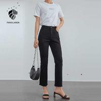 Fansilanen rasgado Magro Black Calças de Jeans Flamejas Mulheres Borla Franja Casual Cintura Alta Feminina Streetwear Calças Denim Vintage 210607