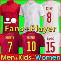 2021 스페인 축구 유니폼 Camiseta España MORATA RODRIGO TORRES PEDRI  Spain 20 21 European Cup RAMOS THIAGO INIESTA ALBA KOKE men kid women 2020 Spain soccer jersey