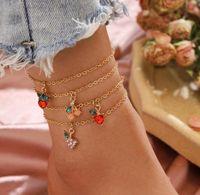 4 teile / satz Frauen Fußklets Ketten Obst Muster Strand Fußklets Barfuß Sandalen Fußketten Bein Armbänder Fuß Armband Knöchel Kette Fuß Schmuck