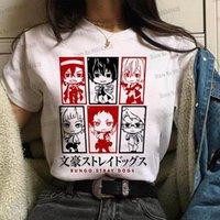 Мода аниме Bungo бездомных женщин футболка собаки красивый osamu dazai nakahara chuya tees японский мультфильм леди