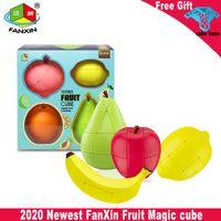 2021 Neueste Fanxin Fruit Magic Cube Pack Birne Zitrone Pfirsich Orange Apple Aufkleberless Cube Pack Puzzle Spiel Geschwindigkeit Cube Lustige Spielzeug
