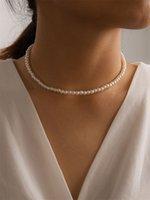 20pc elegante blanco imitación perla gargantilla collar grande perla redonda collar de boda para mujeres encanto joyería de moda 551 q2