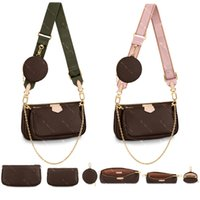 Bolsas de moda de couro real bolsas de ombro multi pochette acessórios bolsas mulheres favoritas mini 3 pcs acessórios crossbody saco