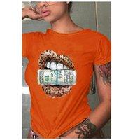 Bayan Bite Dolar T-Shirt Moda Eğilim Yüksek Sokak Kısa Kollu Tees Tasarımcı Kadın Yuvarlak Boyun Hip Hop Casual Tişörtleri Tops Toptan