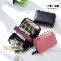 Card Holders RFID Double Zipper Layers Wallets Women Genuine Leather Bank ID S Case Hand Hold Coin Bag Purse