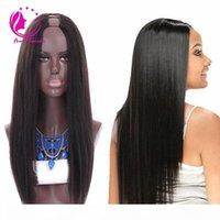 Brezilyalı İnsan Saç U Bölüm Düz Peruk Bakire Saç 130% Yoğunluk Küçük Orta Büyük Boy 12-26 inç Siyah Kadınlar için