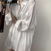 E женские рубашки BAIHUI CHIC CHIC с длинным рукавом блузка плюс размер негабаритных белых Maxi Boyries Chemisier