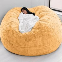 Chair Covers Drop Living Room Furniture Yellow Fur Giant Bean Bag Cover Without Filler For Bedroom Relax Lazy Sofa