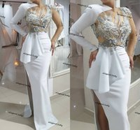 White Long Sleeve Prom Formal Pageant Dresses High End Floral Appliques Beaded sexy slit Peplum Evening Gowns robe de bal