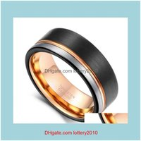 Cluster Rings Jewelryring Men Tungsten Black Rose Gold Line Brushed 8Mm Wedding Band Engagement Ring Mens Party Jewelry Bague Homme Drop Del